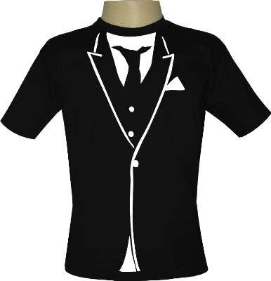 Camiseta smoking e gravata - estampas iradas
