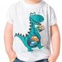 Camiseta New Infantil Menino Dino Branco - produto exclusivo LojaNewLine.com