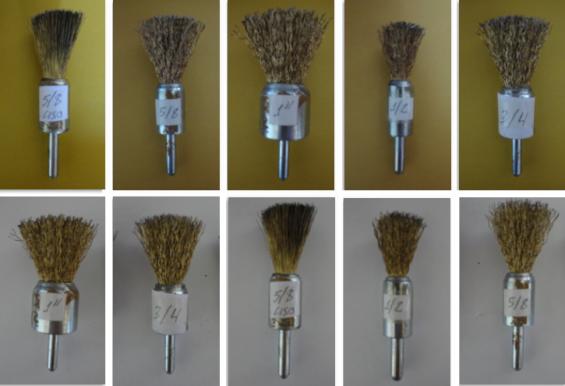 Escovas de aço tipo pincel p/ limpeza de peças