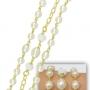 Maxi pulseira folheada a ouro,com pérolas sintéticas e extensor para ajuste de comprimento