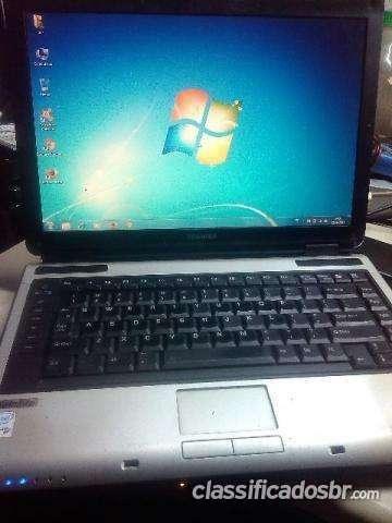 Tenho para venda !!! notebook toshiba com 2gb de memoria 160gb de hd baterianao ta boa bom negocio