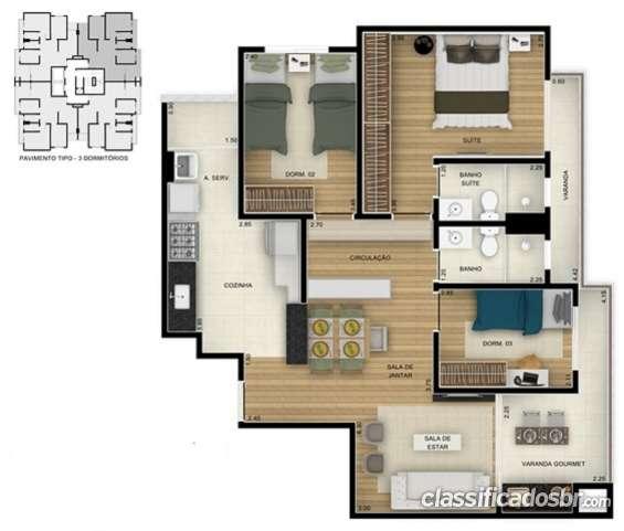 Fotos de Planta apto 85m² 3 dormitórios