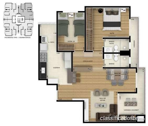 Fotos de Planta apto 85m² 2 dormitórios sala estendida