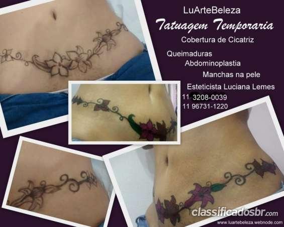 Tatuagem temporaria cobertura de cicatriz