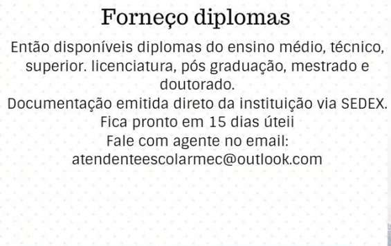Forneço diploma de nível superior