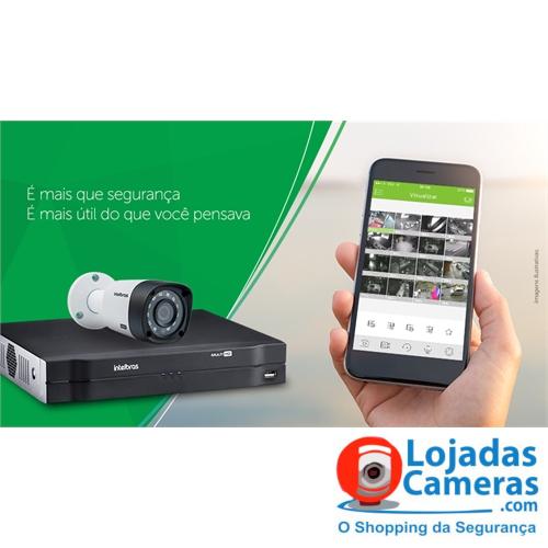 Kit completo 04 câmeras de segurança intelbras dvr 4 canais + 4 câmeras hd 720p + acessórios