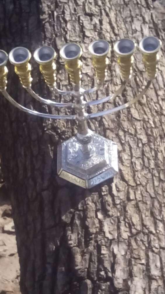 Candelabro hebreo laminado oro y plata 36 cm envio gratis